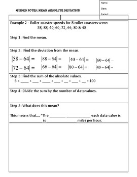 Guided Notes for Mean Absolute Deviation