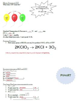 Guided Notes for Molarity & Molar Volume Powerpoint for General Chemistry