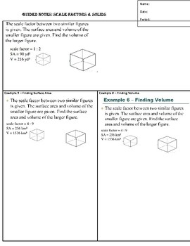 Guided Notes for Scale Factors and Solids