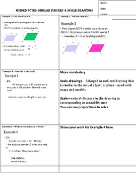 Guided Notes for Similar Figures and Scale Drawings