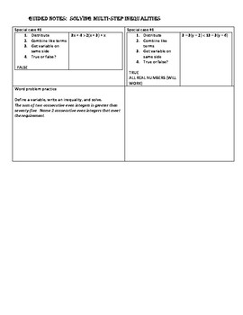 Guided Notes for Solving Multi-Step Inequalities