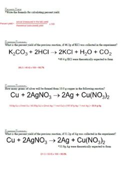 Guided Notes for Stoichiometry Powerpoint for General Chemistry