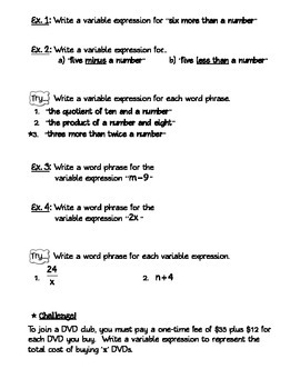 Guided Notes on Evaluating and Writing Variable Expressions