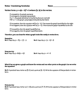 Guided Notes on Translating Parabolas