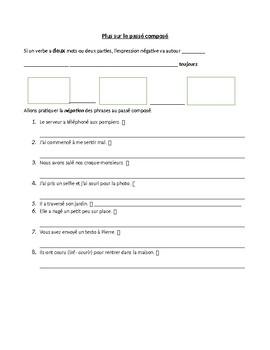 Guided Notes sheet: continuing passé composé (negation)