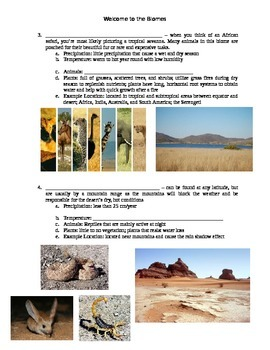Guided Notes with Key on BIOMES