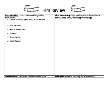 Film Review Worksheets Teaching Resources Teachers Pay Teachers