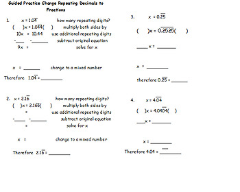 Guided Practice Changing Repeating Decimals to Fractions