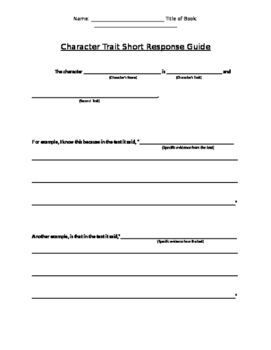 Guided Prompt for Character Trait Short Responses