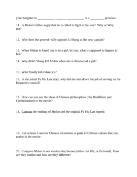Guided Questions For The Movie Mulan:  Ancient Chinese Culture