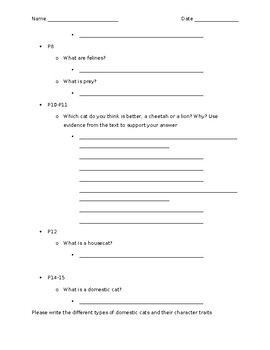 """""""Cats"""" Guided Questions (DRA 16)"""