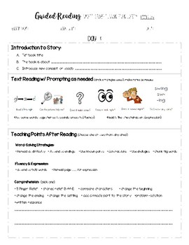 Guided Reading 2 Day Lesson Plan - Early Levels D-I (Modified Jan Richardson)