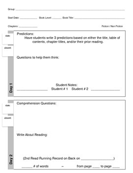 Guided Reading 2-Day Lesson Template for Early Fluent Readers
