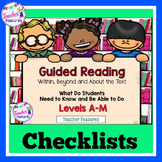 Guided Reading Strategies NO PREP Reading Checklists