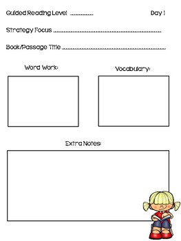 Guided Reading 3 Day Lesson Planner
