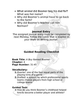 Guided Reading: A Boy Named Boomer