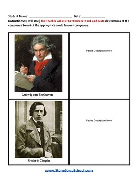 """Guided Reading A-Z: K - 8 """"Famous Classical Composers"""" Traditional Students"""