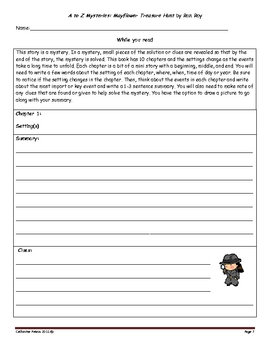 Guided Reading: A to Z Mysteries: Mayflower Treasure Hunt