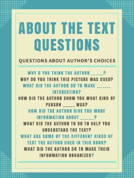Guided Reading - About The Text Anchor Chart
