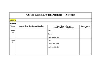 Guided Reading Action Plan Template 9 Weeks By Ms Romanos Treasures