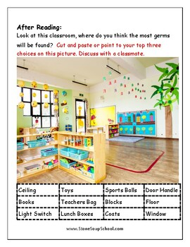 """Guided Reading Worksheets - """"Yucky the Germ"""" - Level E for Students w/ ADD/ADHD"""