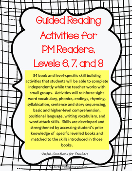 Guided Reading Activities for PM Readers, Levels 6, 7, and 8