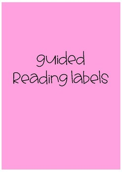 Guided Reading Activity Labels