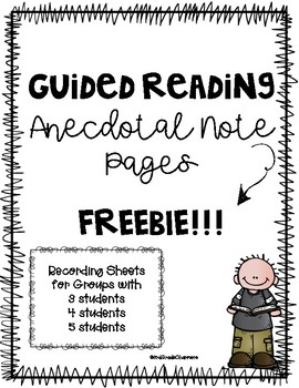 Guided Reading Anecdotal Note Pages