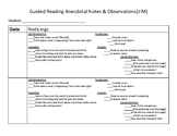 Guided Reading Anecdotal Notes Levels J-M