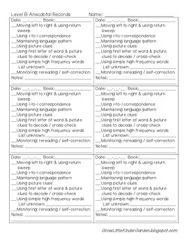 Guided Reading Anecdotal Records or Conference Sheets