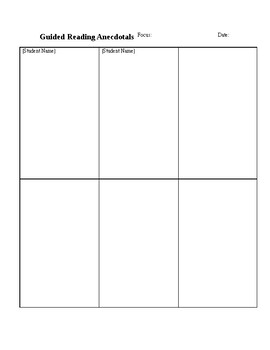 Guided Reading Anecdotal Template