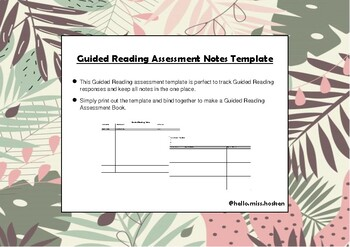 Guided Reading Assessment Notes Template