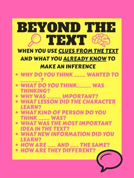 Guided Reading - Beyond the Text Anchor Chart