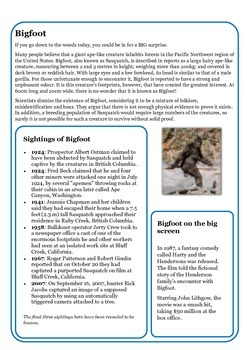 Guided Reading: Bigfoot