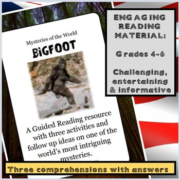 Reading comprehensions: Bigfoot - Three activities plus follow up material