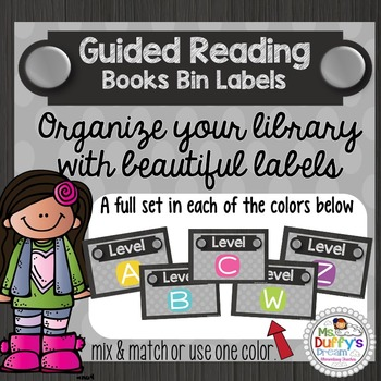 Library Lables;  for Guided Reading Gray & Brights 5 Colors
