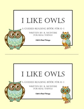 Guided Reading Book Owl Themed Fiction K-1