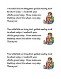 Guided Reading Book Reminder to Parents Bilingual Spanish-English