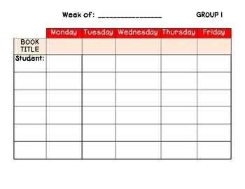 Guided Reading Book Tracking Sheet