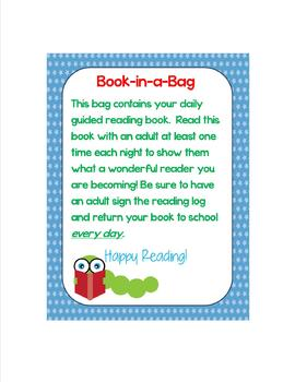 Guided Reading Book-in-a-Bag Cover and Signature Sheet