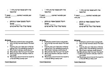 Guided Reading Bookmark for School and Home