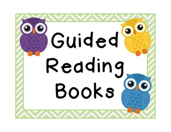 """""""Guided Reading Books"""" Bin Signs {Owl Theme!}"""