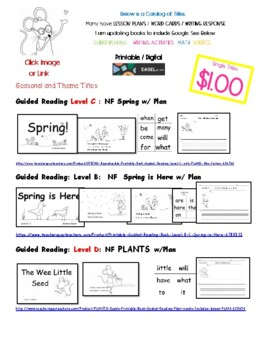 Guided Reading and Printable Books: Catalog of Titles and Preview pages