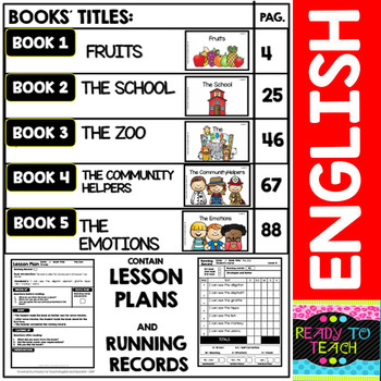 Guided Reading Books - Level A -Lesson Plans, Running Records and Matching Cards