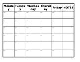 Guided Reading Calendar