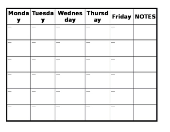 Guided Reading Calendar