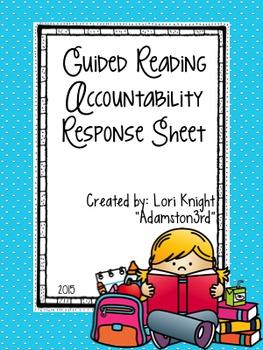 Guided Reading Center Response Sheet--EDITABLE