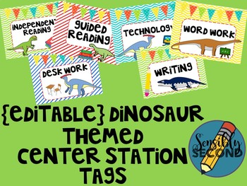 Guided Reading Centers Signs - Dino Themed! {EDITABLE!}