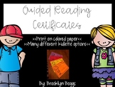 Guided Reading Certificates {Editable}