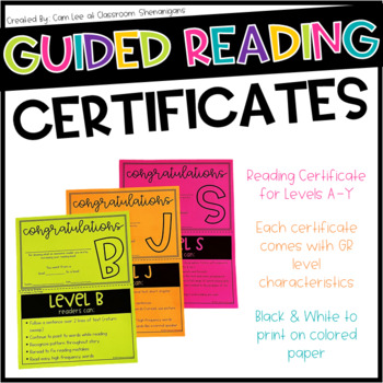 Guided Reading Certificates Level A-Q